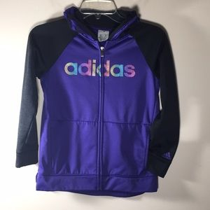 Adidas hoodie zip purple iridescent kids 10/12 M